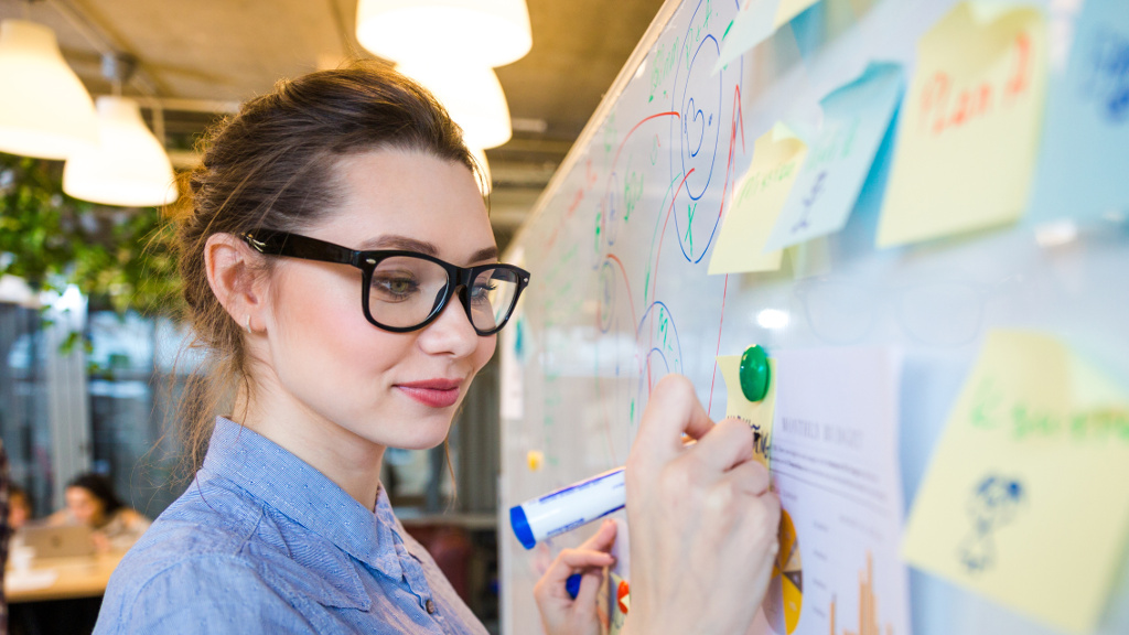 Young woman writing business plan on whiteboard in office