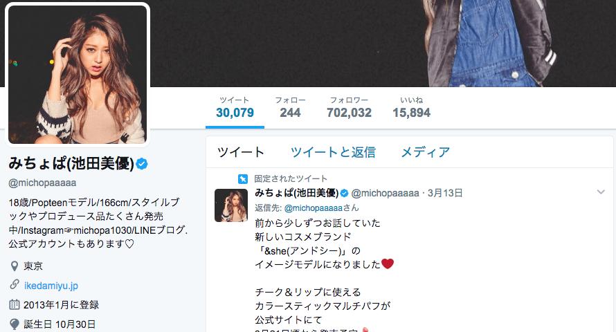 Twitter-インフルエンサー-池田美優(みちょぱ)