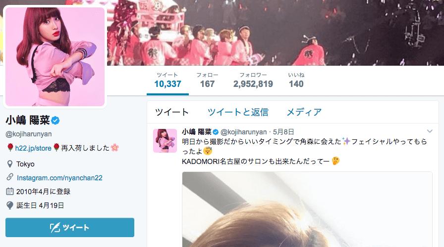 Twitter-インフルエンサー-小嶋陽菜