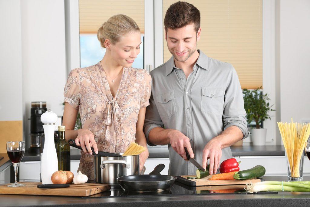 man-woman-cooking