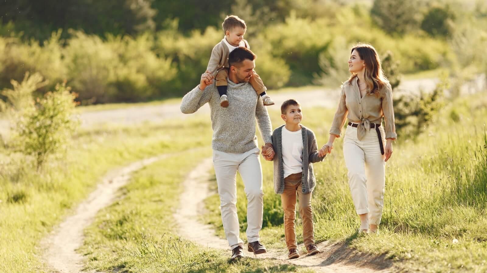 family-walking-outside